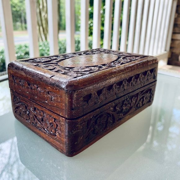 Antique Carved Rosewood Box